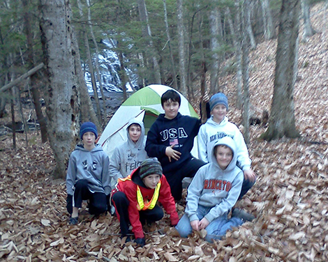 Boy Scouts Camp At Mountain Brook Waterfall