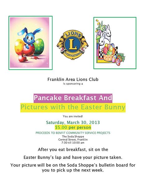 Franklin Area Lions Club Sponsors Easter Breakfast