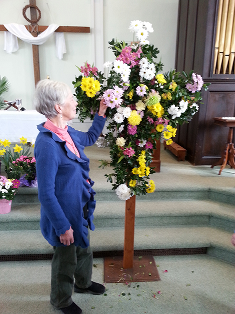 Andover Congregational Worshippers Build a Flowered Cross for Easter