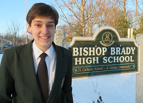 Hunter Bonk of Andover has attained high honors for the first quarter at Bishop Brady High School in Concord. Caption and photo: Herbie Bonk