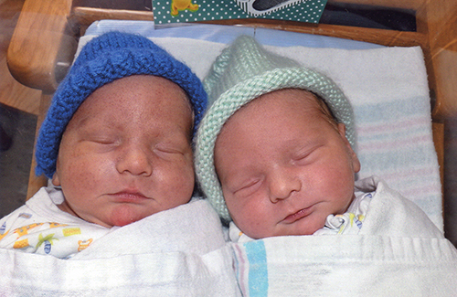 Twins Trevor and Evan St. Clair were born on February 19, 2014 to Elizabeth McDonald of Andover and Jacob St. Clair of Pittsfield. The twins' big sister is Eliza; their grandmother on their mother's side is Elizabeth Mansur of Andover.