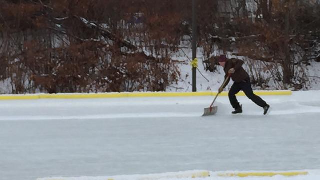 Kurt Weber Clears the Ice on Skates