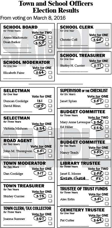 Andover Election Results for March 8, 2016