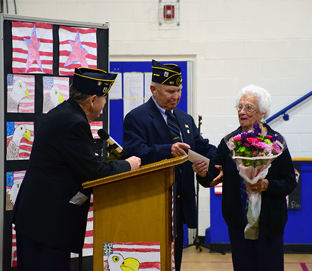 Irene Jewett Honored as Gold Star Mother at Veterans Day Assembly at AEMS