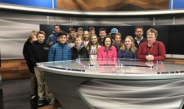 AE/MS Eighth Grade Visits WMUR Studios