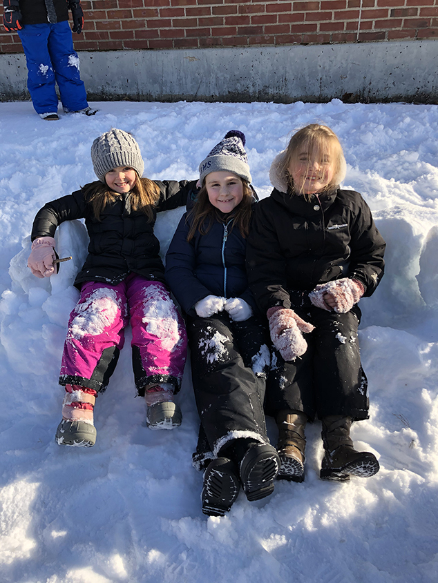 """Second Graders Relax on a """"Snofa"""""""