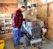Greg Stetson of Winter Hill Maple Gets Ready to Boil Syrup