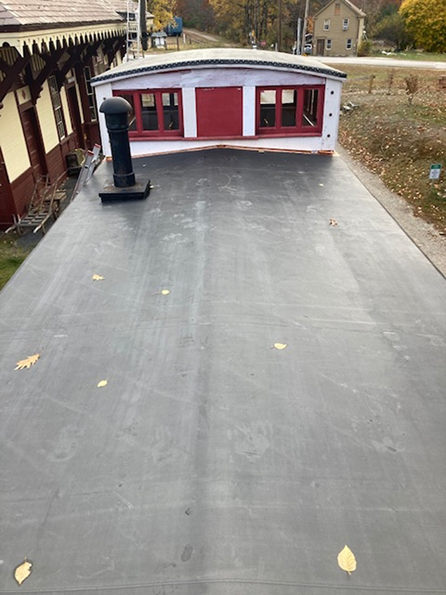 Roof Repairs Finished on Historical Society's Red Caboose