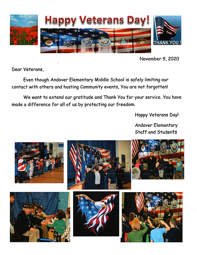 Letter From AE/MS Thanks Veterans for Service