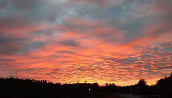 Evening Sunset Dazzles Motorists Travelling on Route 11