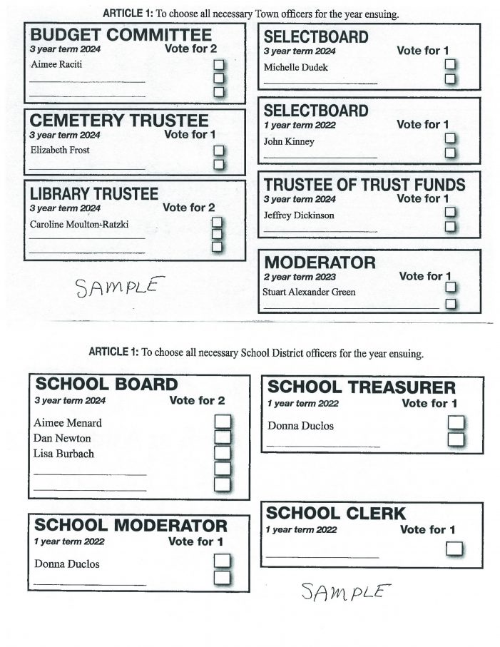 Sample Ballots for 2021 Election on April 13