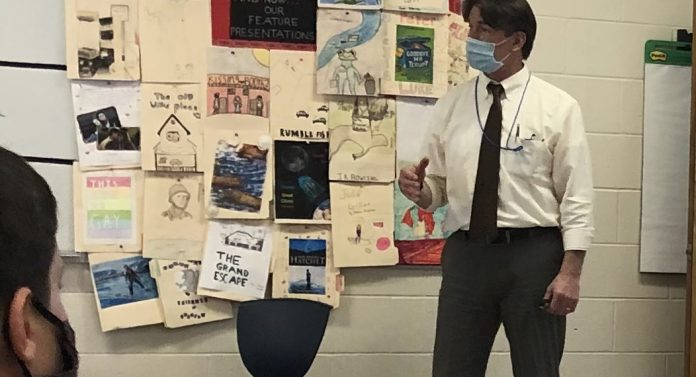 Principal Dobe Visits Classrooms to Review Safety Procedures