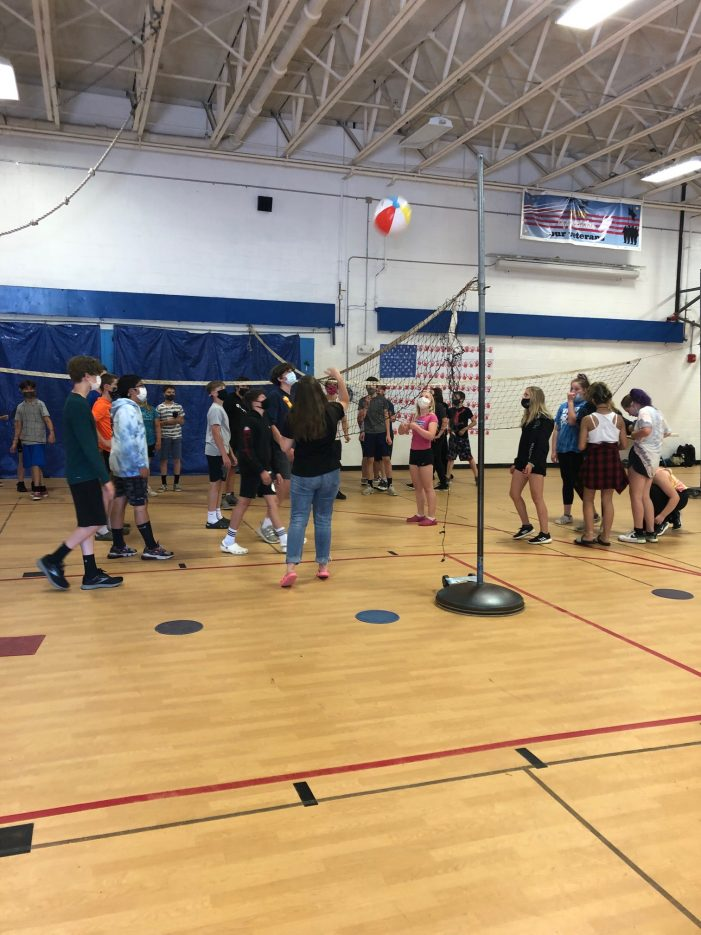 Volleyball Was One of Many Indoor Activities on AE/MS Field Day