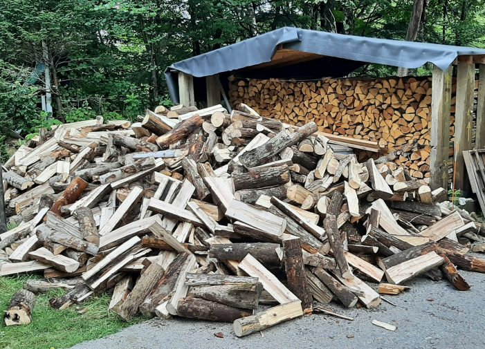 Three Cords of Wood Wait to be Stacked for Winter
