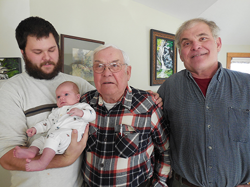 Four generations of Baker men: Sterling Frank Baker with his new son, Clemmens Robert Baker; great-grandfather Frank S. Baker, Jr.; and grandfather Frank S. Baker III. Clemmens was born on October 15 to Sterling Baker and Kaitlin Woods of Mount Vernon, New Hampshire. Photo: Donna Baker-Hartwell