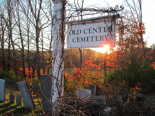 """Luan Clark captured this striking photo a couple of years ago, after the leaves had fallen and the days had grown short. According to the Web (so it must be true...) Andover's Old Center Cemetery is haunted. Google """"Andover NH ghost"""" for some spooky fun."""