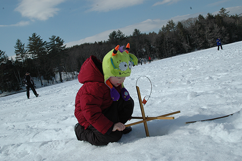A perfect day for andover fish and game club s kids ice for Ice fishing derby game