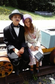 Lorraine Christy took this charming photo of her two granddaughters, Kaedence and Kamryn Brower of White River Junction, at the Potter Place train station. Kaedence, 11, is on the left, dressed as a boy; Kamryn, 9, is on the right.