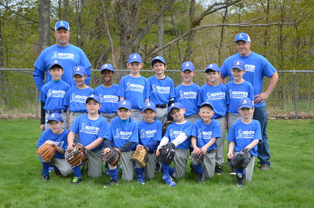 Our Andover Blue Socks enjoyed the beautiful day on Opening Day of the local baseball season, May 14. The team has been playing really well in their games! We are excited and look forward to the rest of the season.  Pictured here are (back) Coach Steve Barton, Garrett Barton, Jacob Demers, Damien Jenifer, Tristan Colby, Ollie Grotnes, Daniel Shedd, Liam Murphy, Nate Bain, and Coach Pete Shedd; (front) Eric Bates, JT Pourby, Wyatt Barton, Wyatt Carleton, Brennan Dunklee, Kamrin McCord, and Ben Newton. Caption and photo: Meghan Barton