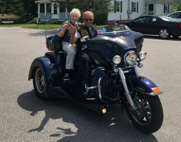 Bike Week 2016 has come and gone, but we have this wonderful photo to remember it by. A group of bikers stopped by Peabody Home in Franklin to take residents for a spin, and yes, that's Andover's Marilyn Gould sittin' pretty on the back of a big three-wheeler. What's next, Marilyn ... a tattoo?