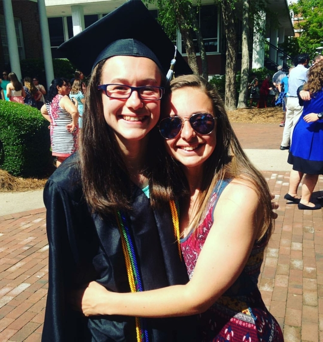 On May 14, Michaela Trefethen graduated summa cum laude from Barton College in Wilson, North Carolina with her Bachelor of Science in Education of the Deaf and Hard of Hearing (K-12). Her sister Maddie was ready with a big hug for the graduate.