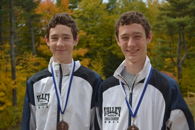 David and Matt Reynolds, sophomores from Andover on the MVHS cross country team, took 3rd and 17th place in a meet at Plymouth on October 14. Photo: Brian Reynolds